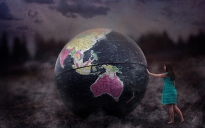 Picture girl, globe, Touch This Earth