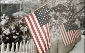 Picture snow, Winter fence, American Flag