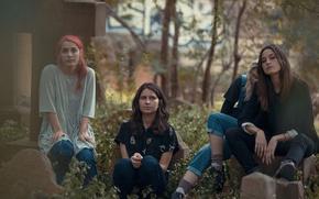 Picture leaves, trees, girls, cross, tombstone, indie rock, warpaint