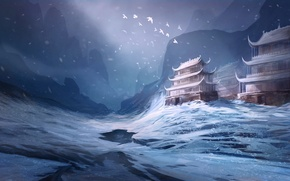Picture winter, snow, birds, Asia, art, temple