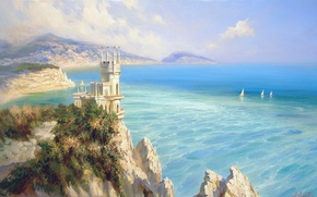 Wallpaper beauty, mountains, Crimea, castle, sea, space, blue, Miliukov Alexander, rocks, sail, landscape, Swallow's nest
