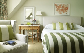 Wallpaper bed, books, green, strip, bedroom