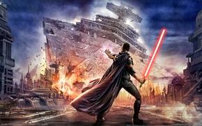 Picture the explosion, fire, power, the crash, star wars, lightsaber, star destroyer, star destroyer, lucasarts, force, …
