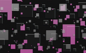Picture abstraction, grey, background, pink, texture, squares, black background