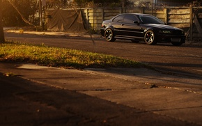 Picture road, black, bmw, BMW, the fence, black, barbed wire, e46