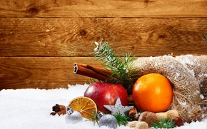Picture snow, orange, holiday, Apple, New Year, Christmas, balls