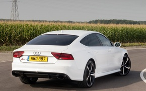 Picture road, field, car, Audi, ass, white, rs7