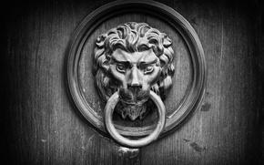 Picture metal, wood, door knocker