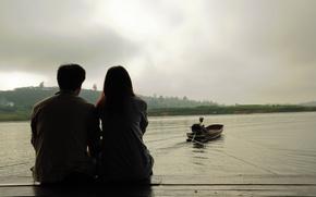 Picture sea, water, girl, love, river, heat, background, widescreen, Wallpaper, romance, mood, woman, boat, feelings, pair, …