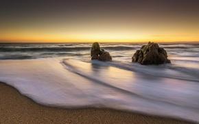 Picture sand, beach, rocks, dawn, coast