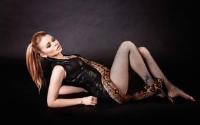 Picture girl, the proximity, snake, neckline, legs, Snake