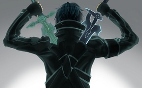 Wallpaper back, Sword art online, kirito, Kirito, two swords, sword art online