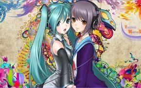 Wallpaper hatsune miku, vocaloid, snyp art, girls, pattern, headphones, nagato yuki