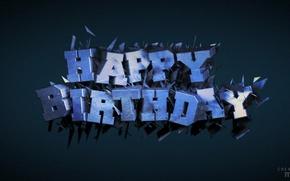 Picture text, birthday, cinema 4d, render, render, postcard, B-day, birth day