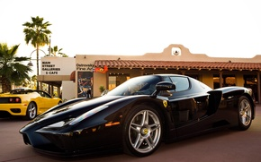 Picture yellow, palm trees, black, cafe, Ferrari, Ferrari, black, 360, enzo, yellow, cafe, palm, Enzo
