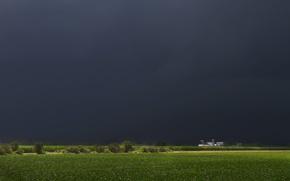 Picture field, house, rain, storm, house, storm, rain, field, farm, farm