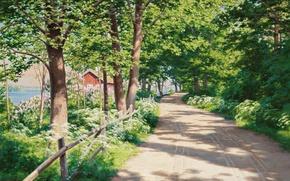 Picture road, trees, landscape, house, sunlight, Johan Krouthen