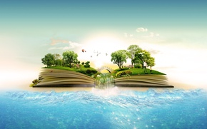 Picture sand, sea, the sky, grass, water, clouds, trees, bridge, balloon, waterfall, meadow, book