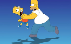 Wallpaper blue, cartoon, the situation, the simpsons, Homer, the simpsons, bart