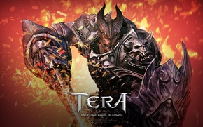 Picture flame, sword, armor, the demon, sparks, horns, shield, Tera