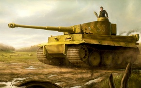 Picture war, art, painting, ww2, Tiger tank