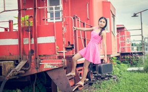 Picture girl, dress, the car, pink, suitcase