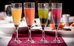 Picture glasses, drinks, colorful