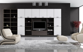 Picture room, carpet, chair, TV, floor, wardrobe, Ottoman, living room, chandeliers