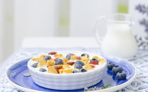 Wallpaper berries, Breakfast, milk, cereal, blueberries