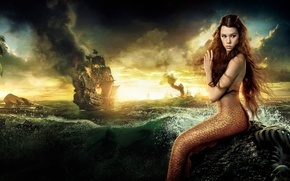 Picture the movie, ship, mermaid, shore, foam, squirt, sea, wave, On stranger tides, Pirates of the ...