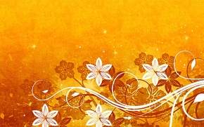 Picture flowers, stars, yellow background