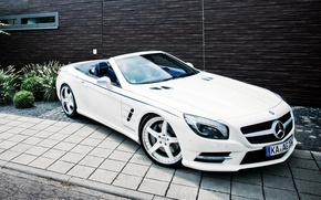 Picture car, Roadster, Mercedes-Benz, white, AMG, wallpapers, SL 63