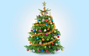 Picture tree, New Year, Christmas, Christmas, tree, decoration, Merry