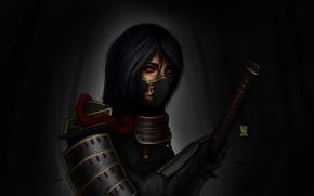Picture the dark background, art, girl, katana, armor, sword, samurai, headband, Romadka