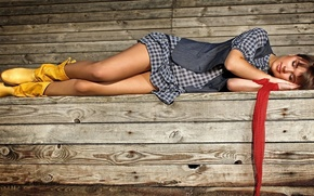 Picture girl, sleeping, lies, boots