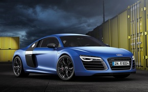 Picture blue, Audi, Audi, supercar, the front, V10, B10, plus, More