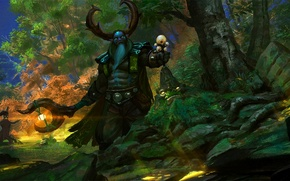Picture forest, jungle, art, horns, staff, Dota 2, Tiny, ward, Nature's Prophet, Stone Giant