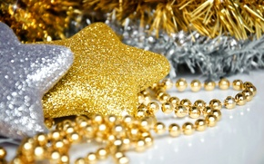 Picture macro, for the Christmas tree, silver, beads, holiday, decoration, stars, new year, star, gold