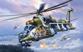 Picture development, Mi-24, art, combat, transport, Soviet, OKB, Russian, Mil., helicopter
