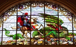 Picture dragon, England, stained glass, Liverpool, St. George, St George's hall
