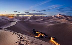Picture nature, dawn, desert, dunes, tents