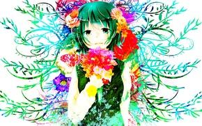 Picture girl, flowers, butterfly, anime, art, vocaloid, Vocaloid, gumi, long bells, Suzuki