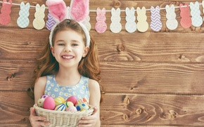 Picture wall, holiday, basket, Board, eggs, Easter, girl, garland, ears, child, Easter