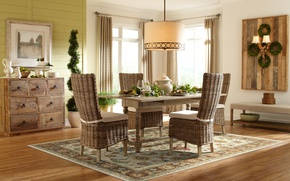 Picture design, style, tree, furniture, interior, dining room, RATAN