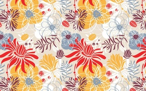 Wallpaper leaves, flowers, floral ornament, background, Wallpaper, fabric, texture