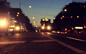 Picture Holland, Amsterdam, markup, road, asphalt, machine, the city, lights, Amsterdam, the evening, Netherlands, twilight, tram, ...