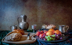 Picture flowers, berries, bread, knife, mug, pitcher, fruit, still life, tomatoes