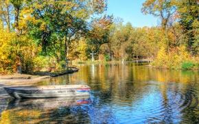 Picture autumn, trees, landscape, lake, Park, boat