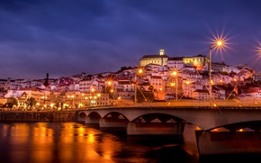 Picture bridge, the sky, lighting, home, Portugal, Portugal, purple, the city, lights, Coimbra, building, Coimbra, night, ...