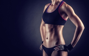 Picture woman, pose, workout, fitness, athletic body, transpiration